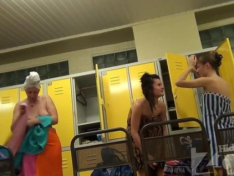 Hidden-Zone.com-Lo1300# Three young girls dress up and wiped off after a shower in the pool locker room. Our opret