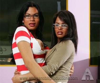 PinkotGirls.com-Michelle and Bia plays with Val