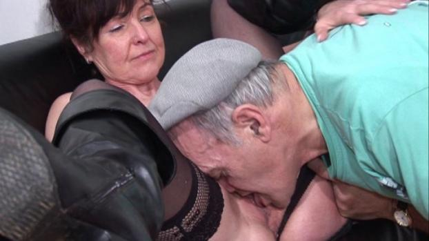 Lafranceapoil.com-Dirty granny slut takes on two cocks in her cunt and ass