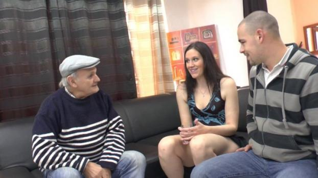 Lafranceapoil.com-Naughty couple with a brunette slut getting sodomized and jizzed on body in a hot threesome with GrandPa