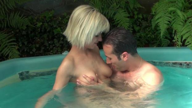 Lafranceapoil.com-Pretty blonde slut blows in the jacuzzi before getting banged and facilalized